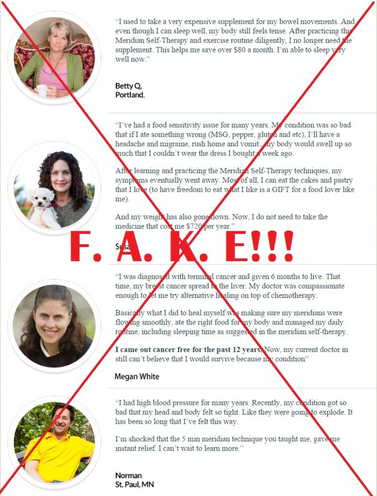 pure natural healing fake testimonials