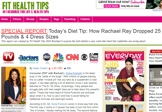 rachel ray fake weight loss article nutra forskolin scam