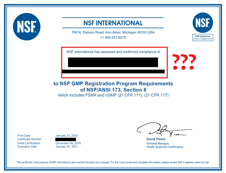 goli nsf certificate issue
