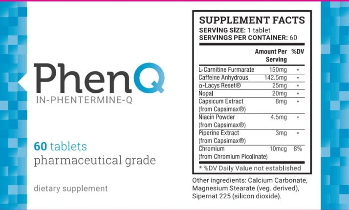 phenq ingredient label