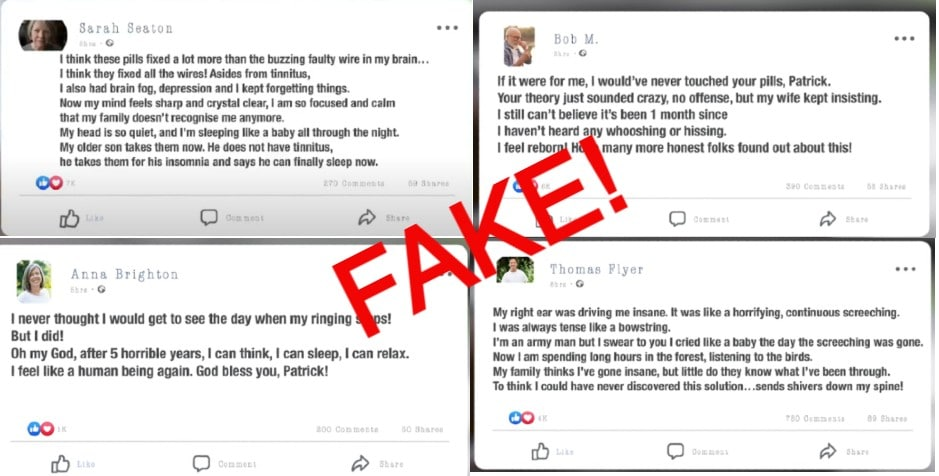 fake facebook testimonials quietum plus review