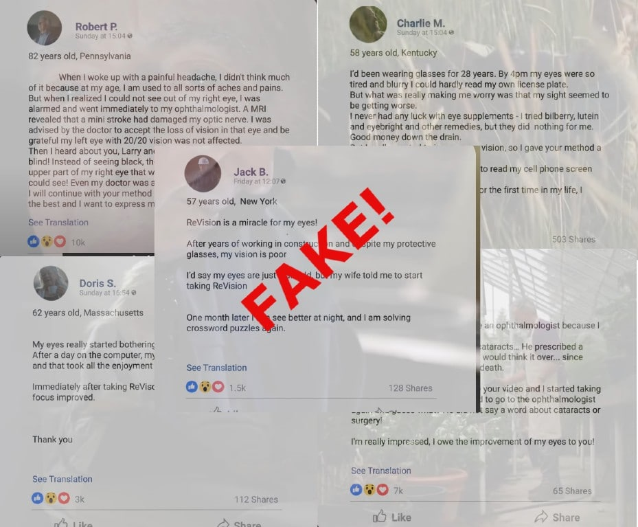 fake facebook testimonials revision supplement review