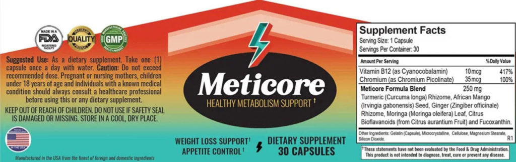 meticore weight loss supplement ingredients label